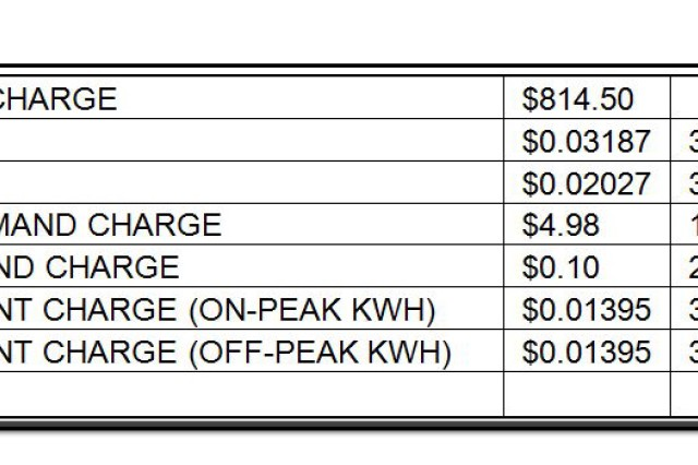 May 2013 Installation Electric Bill -- How does the power company calculate the installation's monthly electrical costs? Perhaps an answer to this question may make you a little more aware of the energy that we consume and be more thoughtful of its use. Let's look at the May 2013 bill to try to answer this question. The installation is charged at an industrial rate (number 53) because of the factory is the primary utility user. Several cost components are considered in the installation's monthly electric bill.