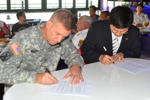 Wonsoon Yoo, president of the Itaewon Bar Owners' Association, right, and Col. Michael. E. Masley, garrison commander for U.S. Army Garrison Yongsan, re-sign the Memorandum of Understanding between the IBOA and USAG Yongsan, July 24. The MOU outlines the joint efforts by the IBOA and USAG Yongsan to keep Itaewon safer for the Area II military community. (Photo by Pfc. Jung Jihoon)