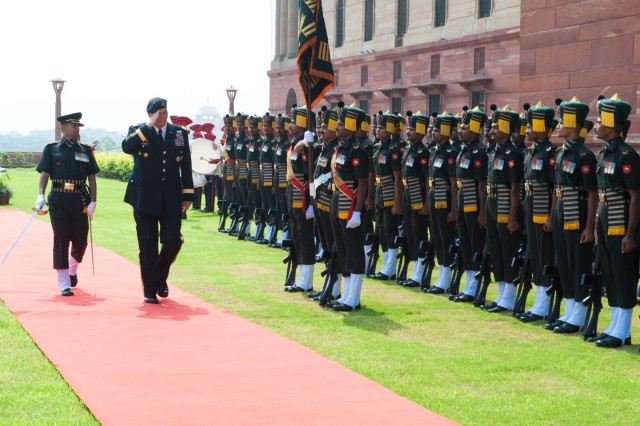 U.S. Army Chief of Staff Gen. Raymond T. Odierno partakes in a Guard of Honor Ceremony during his visit to India to strengthen the relationship between the U.S. and Indian Army, in New Delhi, July 24, 2013.