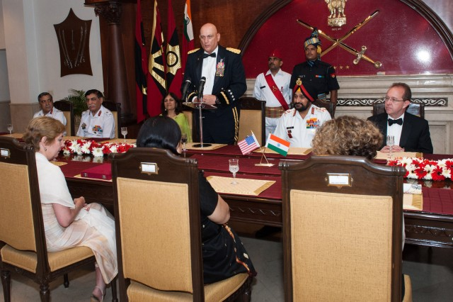 U.S. Army Chief of Staff Gen. Raymond T. Odierno speaks at the Indian Army Banquet, hosted by India Chief of Army Staff Gen. Bikram Singh in honor of Odierno, during his visit to India to strengthen the relationship between the U.S. and Indian Army, in New Delhi, July 24, 2013.