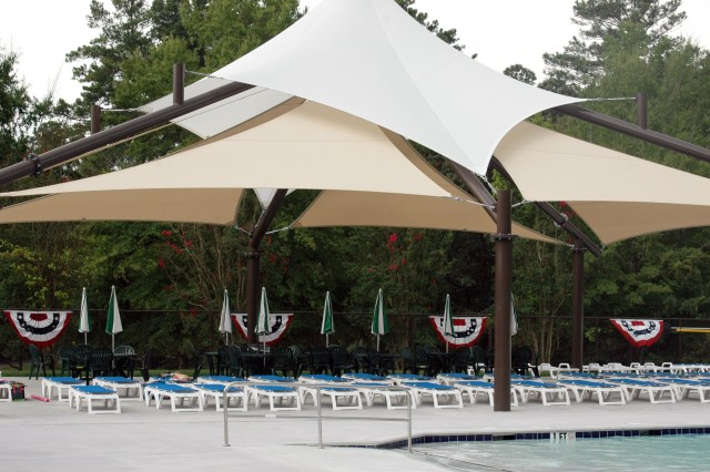 Renovations at Legion Pool added a shade structure and lounge area.
