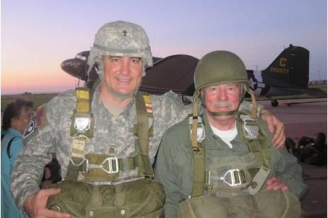Chaplain (Maj.) Sean Wead and 173rd Brigade veteran Charlie Lewie, who served with Medal of Honor recipient, Chaplain (Maj.) Charles J. Watters in Vietnam.