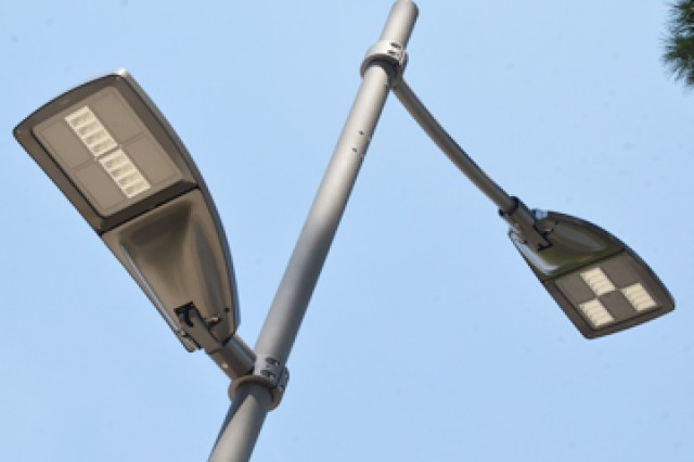 The U.S. Army Garrison Vicenza Directorate of Public Works has completed the replacement of 247 light poles supporting 494 old style metal halide lamp fixtures with 357 LED light fixtures on Caserma Ederle in Vicenza, Italy. The $843,000 project is expected to save the garrison approximately $30,000 annually and further the garrison's move toward achieving Net Zero Energy Installation status.