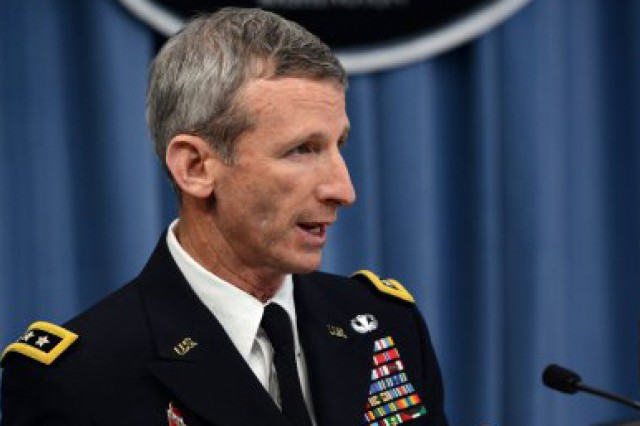 Lt. Gen. Howard B. Bromberg, Army G-1, describes plans for integrating women into combat to reporters, June 18, 2013. He explained those plans to members of the House Armed Services Committee, subcommittee on military personnel, July 24, 2013.