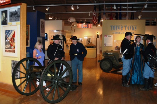 "Civil War re-enactors gather inside the New York State Military Museum as they wait for the formal opening of new Civil War exhibit ""Empire for Union"" July 27. (Photo by Eric Durr/ DMNA)"