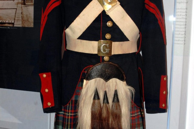 "This uniform worn by a member of the 78th New York Volunteer Infantry, who called themselves the Highlanders, is among the items included in the New Civil War exhibit ""Empire for Union"" at the New York State Military Museum which opened July 27."