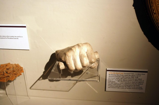 This cast of Abraham Lincoln's hand is  among the items in the Civil War  exhibit at the New York State Military Museum which was officially opened July 27. The casting was donated to the New York State Bureau of Military Statistics by the by the artist after the war.