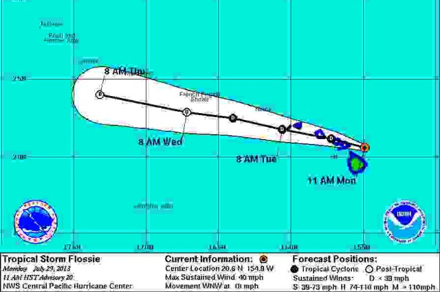 Tropic Storm Flossie is expected to make landfall on Oahu later this evening, July 29.