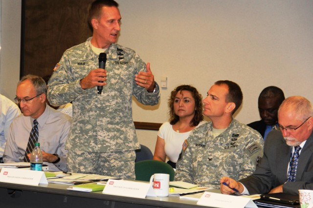 Brig. Gen. Thomas W. Kula, SWD commander, makes some key points with Corps partners during the SWD Hurricane Table Top Exercise in Dallas. (Photo by Denisha Braxton )