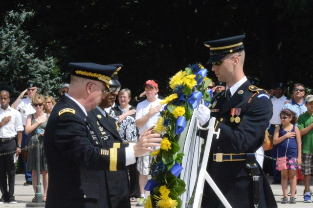 Maj. Gen. Donald L. Rutherford, U.S. Army Chief of Chaplains and Sergeant Major Stephen A. Stott, Regimental Sergeant Major of the Chaplain Corps lay a wreath at the Tomb of the Unknown Soldier at Arlington National Cemetery, 26 July, 2013.