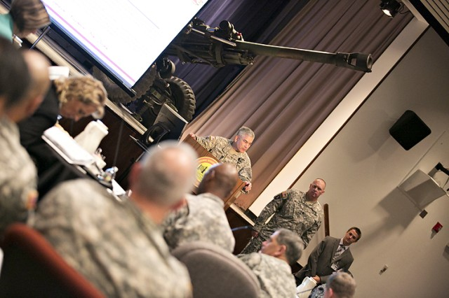Vice Chief of Staff of the Army, Gen. John F. Campbell, outlines aspects of the Army's Ready and Resilient Campaign to the personnel who would brief him shortly on Picatinny Arsenal's readiness and resilience programs at the Lindner Conference Center.