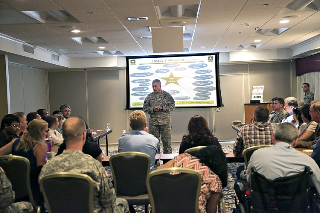 Vice Chief of Staff of the Army, Gen. John F. Campbell gives an overview of the Army's Ready and Resilient Campaign during a focus session with Soldiers and Department of the Army Civilians at the Cannon Gates Catering and Conference Center at Picatinny Arsenal.