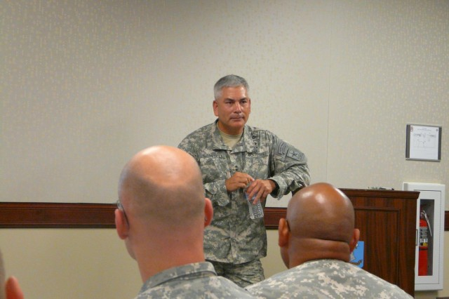 Gen. John F. Campbell, Army Vice Chief of Staff, talks to SAMS students at Fort Leavenworth, Kan. The application window for majors and lieutenant colonels to apply for the SAMS course that begins next summer is Aug. 9 to Sept. 11.