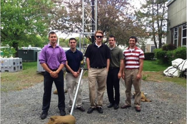 From left, Joe Boisvert, Mike Covino, Chris Dinan, Brandon Hicks, and Kyle Pereira were UMass-Amherst mechanical engineering seniors working at the Natick Soldier Research, Development and Engineering Center as part of their Senior Capstone Design course.