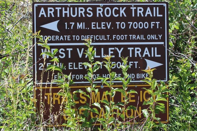 Trail head sign to Arthurs Rock trail in Lory State Park where a hiker had to be carried out on a litter after she fell down and broke her wrist July 31 near Fort Collins, Colo.