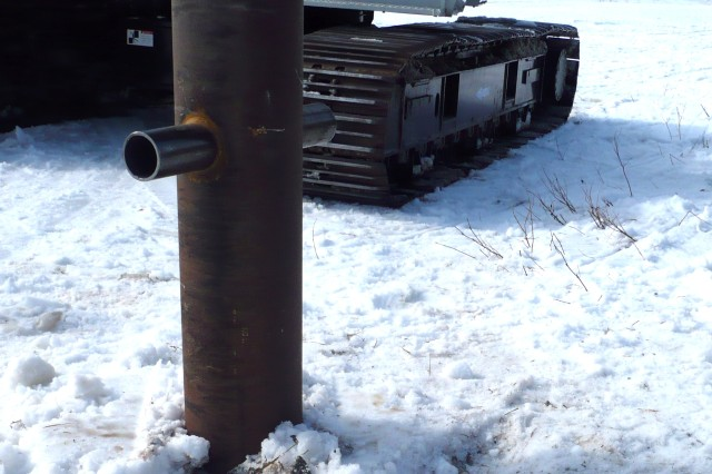 To date, the Corps has completed nine of 26 mooring point installations like this one in places such as Chevak, Kwigillingak and Tuntutuliak. The average cost per mooring point is $21,097.