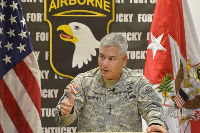Gen. John F. Campbell, the vice chief of Staff of the Army and former commander of the 101st Airborne Division (Air Assault), holds a press conference at the Kinnard Mission Training Complex at Fort Campbell, Ky., Aug. 1, 2013.  Campbell and other Army senior staff spoke to Soldiers, families and civilians about the Army Ready and Resilient Campaign during their visit to Fort Campbell.  The Ready and Resilient Campaign is a comprehensive program to build physical, emotional and psychological resilience in our Soldiers, families and civilians.