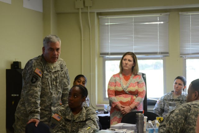 Gen. John F. Campbell, Vice Chief of Staff of the Army, addresses students of the Master Resilience Training Course during his visit to Fort Jackson, S.C., Aug. 2. During his visit, Campbell also met with Soldiers, family members and civilians to discuss the Army's Ready and Resilient program.