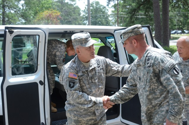 Gen. John F. Campbell, Vice Chief of Staff of the Army, is greeted by Sgt. Maj. Fabian Zalewa, Master Resilience Training  Course sergeant major, upon his arrival at the MRTC on Fort Jackson, S.C., Aug. 2. Campbell visited Fort Jackson as part of his 'Health of the Force' trip.