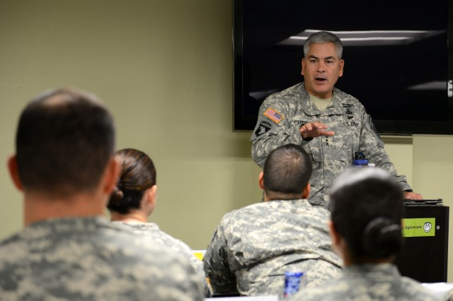 Vice Chief of Staff Gen. John F. Campbell speaks to Soldiers at a resiliency class at Fort Jackson, S.C., Aug. 2, 2013.