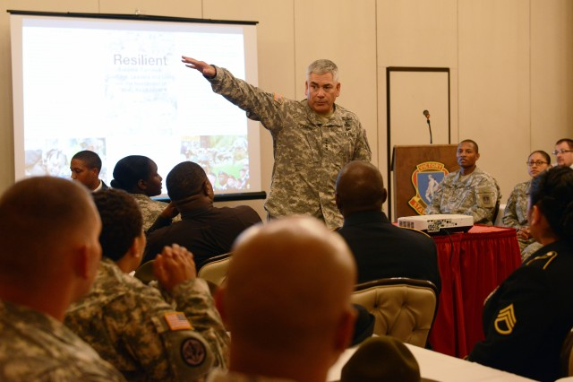 Vice Chief of Staff Gen. John F. Campbell speaks to Soldiers at a resiliency session at Fort Jackson, S.C., Aug. 2, 2013.