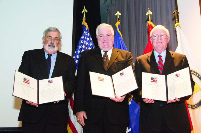From left: 2013 Ammunition Hall of Fame inductees William DeMassi, Charles Digney, Dr. Joseph Lannon.