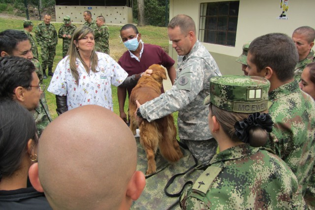 Lt. Col. Jerrod W. Killian, chief, clinical operations, command veterinarian for U.S. Army South, performs a physical exam on a Colombian military working dog with Colombian army veterinarians. Killian was part of an Army South delegation of Soldiers and civilians that traveled to Bogota, Colombia, to discuss the care, prevention and treatment of diseases military working dogs are diagnosed with while conducting operations.