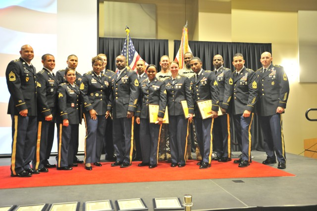 Twenty Soldiers from U.S. Army South were inducted into the Headquarters and Headquarters Battalion's first ever NCO Induction Ceremony July 31 at Joint Base San Antonio-Fort Sam Houston, Texas.