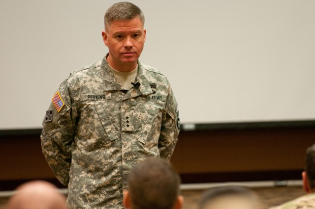 Lt. Gen. David G. Perkins, commanding general of the United States Army Combined Arms Center at Fort Leavenworth, Kan., conducted a key leader development discussion about new Army doctrine at Fort Riley July 29. Perkins spoke to senior leaders from the 1st Infantry Division about how the Army's change in doctrine would assist in training leaders and empowering all Soldiers. Perkins is visiting Army installations to assist in the implementation and provide guidance on how these doctrine changes will affect commanders and their units.