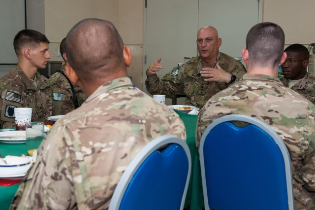 Army Chief of Staff Gen. Raymond T. Odierno meet with deployed Soldiers for breakfast and to have an open discussion about the future of the Army, in Kabul, Afghanistan, Aug. 6, 2013.  Odierno met with U.S. troops and leadership during his trip to Afghanistan.