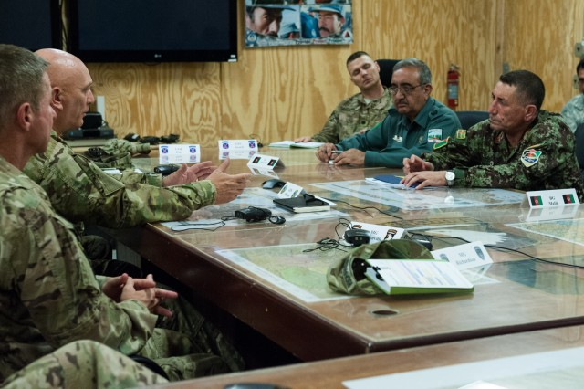 Army Chief of Staff Gen. Raymond T. Odierno receives a briefing from Afghan leadership in Gamberi, Afghanistan, Aug. 6, 2013. Odierno met with U.S. troops and leadership during his trip to Afghanistan.