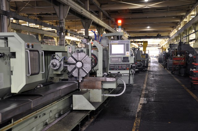 Machines quieted by the maintenance shutdown.