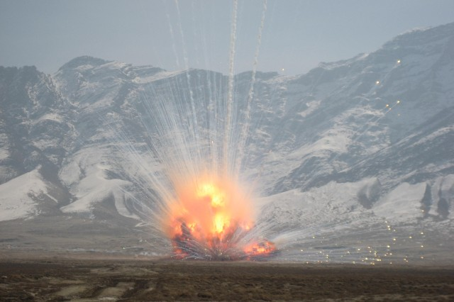 A large disposal 'shot' in Southwest Afghanistan using C4 and MICLIC donor charges. Since April 2012, JMD-A has destroyed more than 1,600 tons of unserviceable munitions and the process will continue until our services are no longer needed, Hamley said.