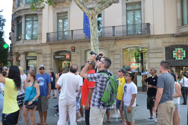 A group of Darby Military Community BOSS members view the sights in Barcelona, Spain, with the help of a tour guide during the summer weekend trip July 25-28.
