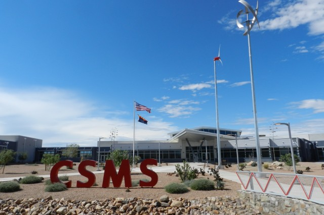 The exterior and landscape features of Colonel Smith Middle School at Fort Huachuca, Ariz., received critics' praise in several award categories. Its wind turbines were cited as energy-saving demonstration elements during the 2012 Sustainability and Innovation Awards.