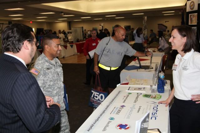 Local job fairs, like this one held in 2012 at Joint Base San Antonio-Ft. Sam Houston, bring together transitioning service members and potential employers.