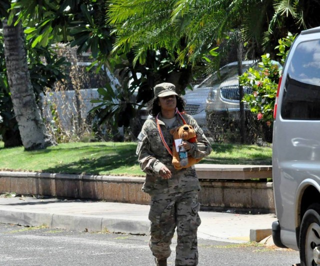 Redeployed Alpha Company, 307th Expeditionary Signal Battalion Officer 1st. Lt. Rashia King, and