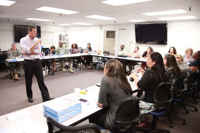 "Hal Runkel, licensed marriage and family therapist and founder of The ScreamFree Institute, presents during a two-day training seminar at Fort Sam Houston, Texas, to coach 20 Army professionals toward the ""ScreamFree Approach,"" held in 2012. Through the technique, parents are encouraged to focus inwardly and remain calm."