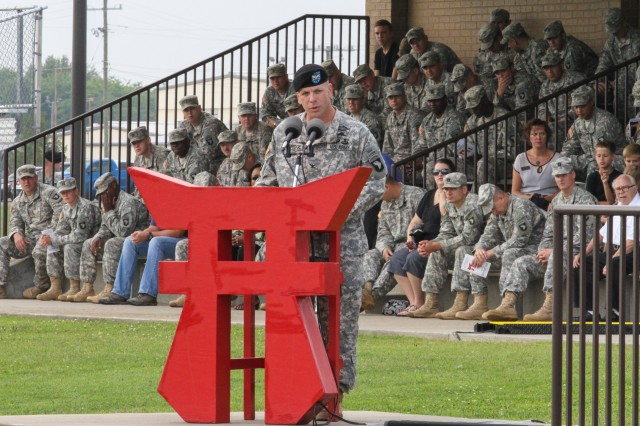 """FORT CAMPBELL, Ky., - Col. R.J. Lillibridge, the outgoing commander of the 3rd Brigade Combat Team """"Rakkasans,"""" 101st Airborne Division (Air Assault), gives on final heart-filled speech to the Soldiers of the brigade during a change of command ceremony at Fort Campbell, Ky., August 1, 2013. Col. Lillibridge passed his responsibility and authority of the 3BCT Soldiers to Col. J.B. Vowell, the incoming Commander of 3BCT. (Photo by U.S. Army Spc. Brian Smith-Dutton 3BCT Public Affairs)"""