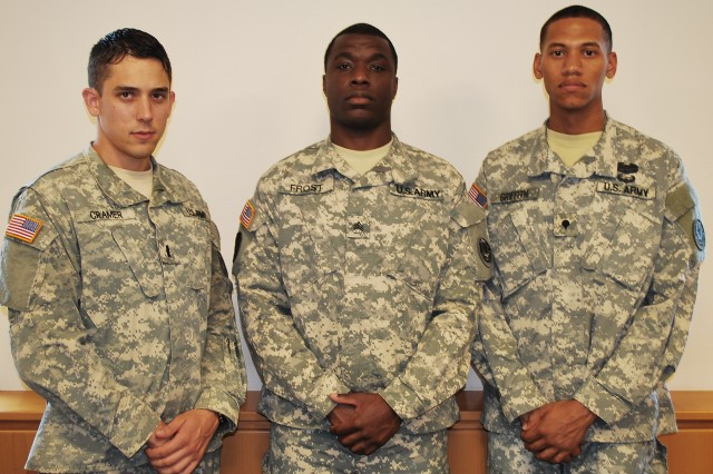 First Lt. Anthony J. Cramer (left), Sgt. Anthony A. Frost (center) and Spc. Michael A. Griffith, all assigned to the 2d Cavalry Regiment, will be representing 2 CR in the 2013 U.S. Army Europe Best Warrior Competition held at Camp Aachen in the Grafenwoehr Training Area August 18-23, 2013.