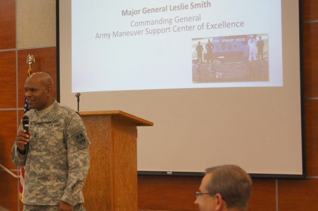 Maj. Gen. Leslie Smith, Maneuver Support Center of Excellence and Fort Leonard Wood commanding general, participates in the Sustainable Ozarks Partnership 2013 Conference, Aug. 1, in the Waynesville Career Center. Smith provided perspectives on setting goals, objectives and responsibilities, and working together as a community toward a successful future.