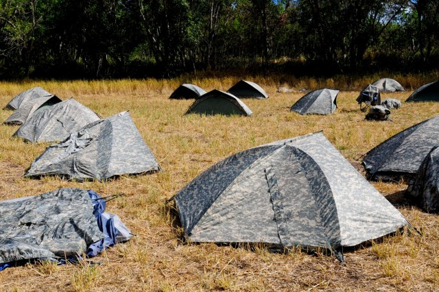 Tents mark the sleeping area of soldiers from 3rd General Support Aviation Battalion, 25th Aviation Regiment, 25th Combat Aviation Brigade, 25th Infantry Division, during a field training exercise near Dillingham Airfield, Hawaii, Aug. 6.