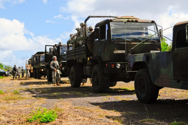 Light medium tactical vehicles from 3rd General Support Aviation Battalion, 25th Aviation Regiment, 25th Combat Aviation Brigade, 25th Infantry Division, convoy to the training site near Dillingham Airfield, Hawaii, for a 3-25 AVN field training exercise, Aug. 6.