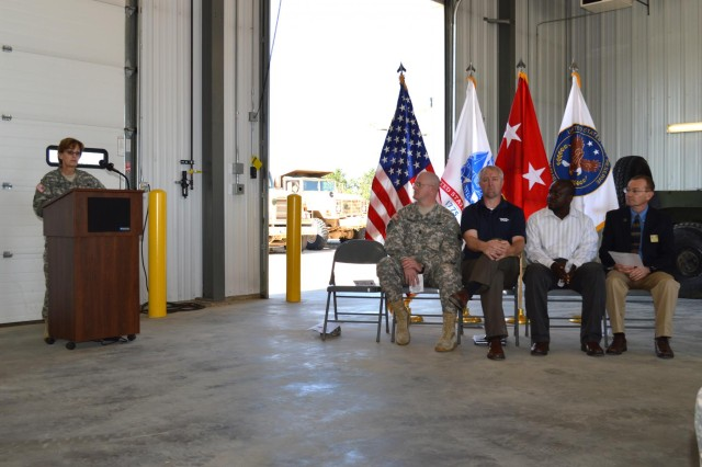 Maj. Gen. Karen E. LeDoux talks about the benefits of the new $19 million tactical equipment maintenance facility being built at Fort McCoy, Wis., as part of the Equipment Concentraion Site #67 storage and maintenance facility. (Photo by Sgt. Brittany Zold)