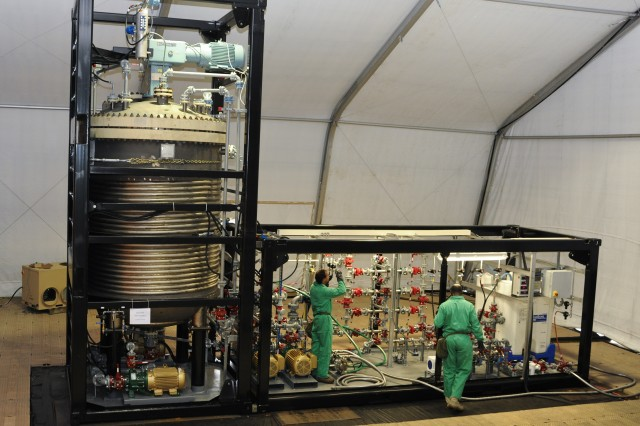 ECBC's CBARR technicians provide operational expertise for the Field Deployable Hydrolysis System.