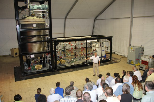 Tim Blades, director of operations for CBARR, explains the FDHS technology to DoD stakeholders during an onsite demonstration at the Edgewood Area of Aberdeen Proving Ground in June.