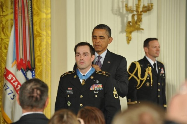 Staff Sgt. Clinton Romesha received the Medal of Honor from President Barack Obama, in February 2013, for his action at Combat Outpost Keating Oct. 3, 2009. (Photo courtesy of the US Army)