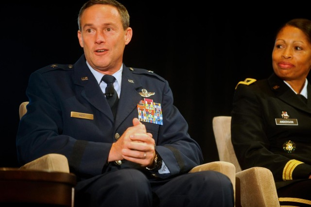 U.S. Air Force Brig. Gen. Jon Mott, representing the Air National Guard director, participates in the Reserve chiefs panel at the Reserve Officers Association National Security Symposium, Washington, D.C., Aug. 9, 2013.
