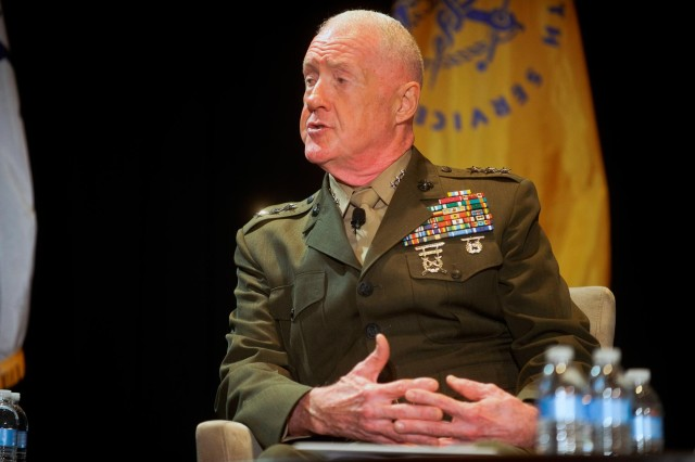 U.S. Marine Corps Lt. Gen. Richard Mills, commander, Marine Corps Forces Reserve, participates in the Reserve chiefs panel at the Reserve Officers Association National Security Symposium, Washington, D.C., Aug. 9, 2013.