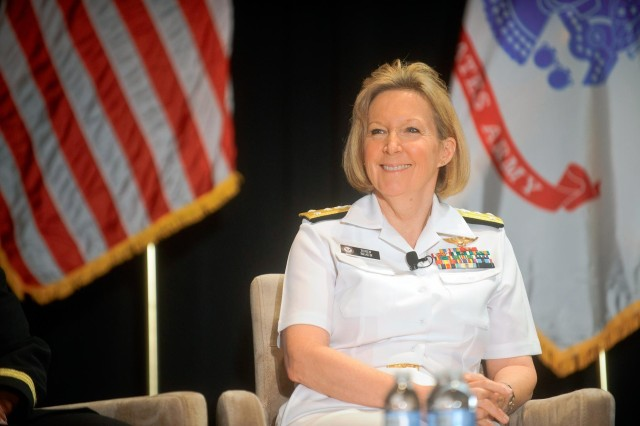 U.S. Navy Vice Adm. Robin Braun, the chief of the Navy Reserve, participates in the Reserve chiefs panel at the Reserve Officers Association National Security Symposium, Washington, D.C., Aug. 9, 2013.